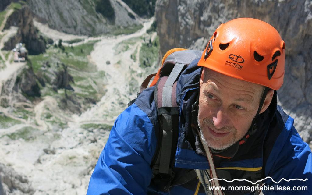Gaetano in arrampicata sulla Stabeler